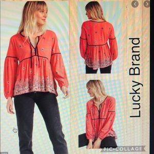 🍀LUCKY BRAND Border Peasant Top🍀